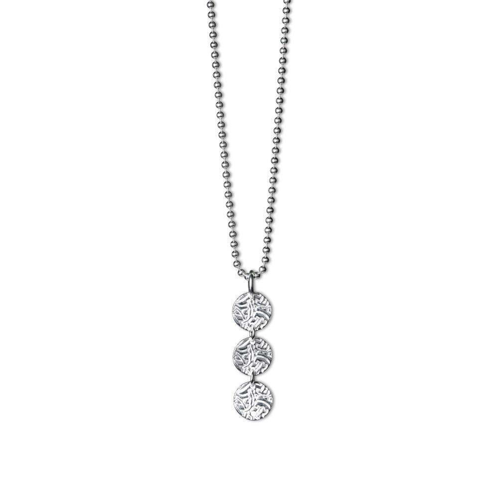 Shieldmaid - Silverhalsband 3 Shield. Långt halsband med kulkedja ... 724fc83d764cc